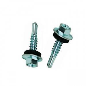 Hex flange head self drilling screw with rubber washer