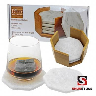 SHUNSTONE hexagon marble in tubled non-slip coaster set