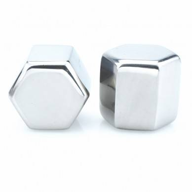 Hexagon Shaped Stainless Steel Ice Cube Customized Packaging Wine Accessories