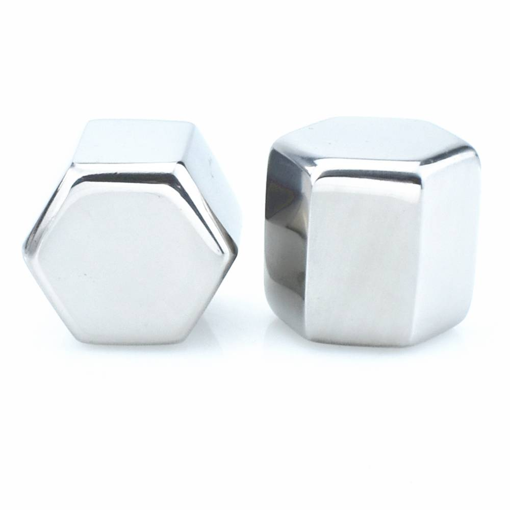 Hexagon Shaped Stainless Steel Ice Cube Customized Packaging Wine Accessories Featured Image