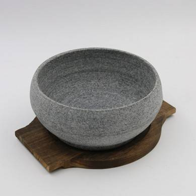 Production of Round Stone Bowl Drum-shaped Stone Bowl Stone Pot Mix Rice Barbecue Plate 16-18cm