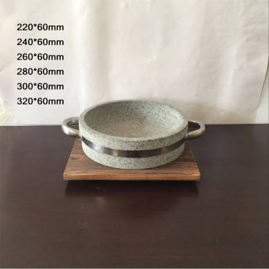 Stone Bowl of Korean Rice Mixing Stone Bowl Round Deep and Shallow Barbecue Plate Barbecue Stone Plate