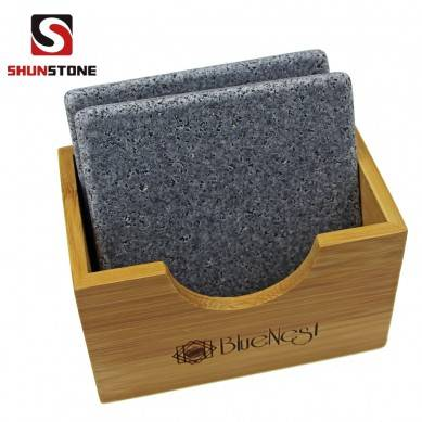 SHUNSTONE black granite coaster set