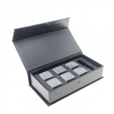 Whiskey Stones Gift Set Natural Soapstones Cooler with Handmade Magnetic Box