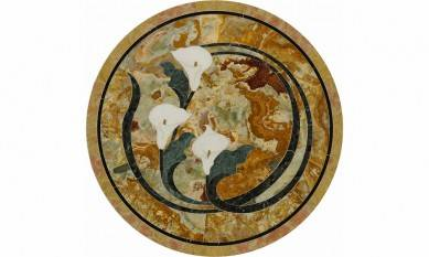 Round square shape water jet onyx stone marble floor medallion for villa project
