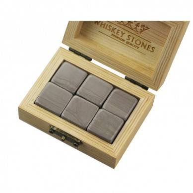 Cheap Whiskey Stones Gift Set with 6 Pcs of Antiquity Wood Grain in Natural Wooden Box to Chill Your Drinks
