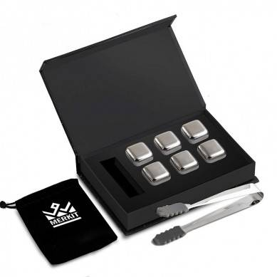 Stainless Steel Whiskey Stones – Set of 6 – Rubber End Tongs – Premium gift set