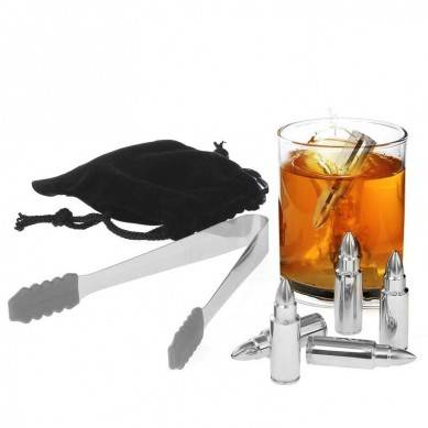 Whiskey Stones Bullet Shaped Chilling Stones – Stainless Steel Beverage Cooling Rocks Ice Cubes Set Of 6 With Tongs And Velvet Bag – For Whiskey, Vodka, Liqueurs, White Wine And More