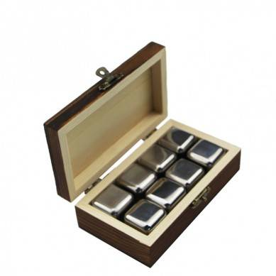 Premium Package Stainless Steel Reusable Chilling Rock Whiskey Cooler Set