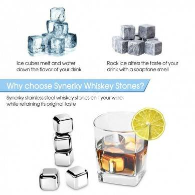Metal Ice Cubes,Synerky Reusable Ice Cubes 8-PCS Stainless Steel Whiskey Stones for Non-diluting Cooling Vodka,Whiskey, Beer,White Wine and More
