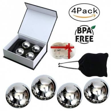 Unique Solution Reusable Stainless Steel Ice Balls -Set of 4 Big Whiskey Balls with Gift – Whisky, Wine, Beer, Vodka, Champagne, Spirits Chiller & Cooler Cubes and Stones