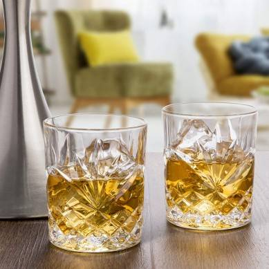 Elegant Whiskey Glass Set of 2 in a Spectacular Gift Box by Regal Trunk & Co.  10 Oz Old Fashioned Lead Free Whiskey