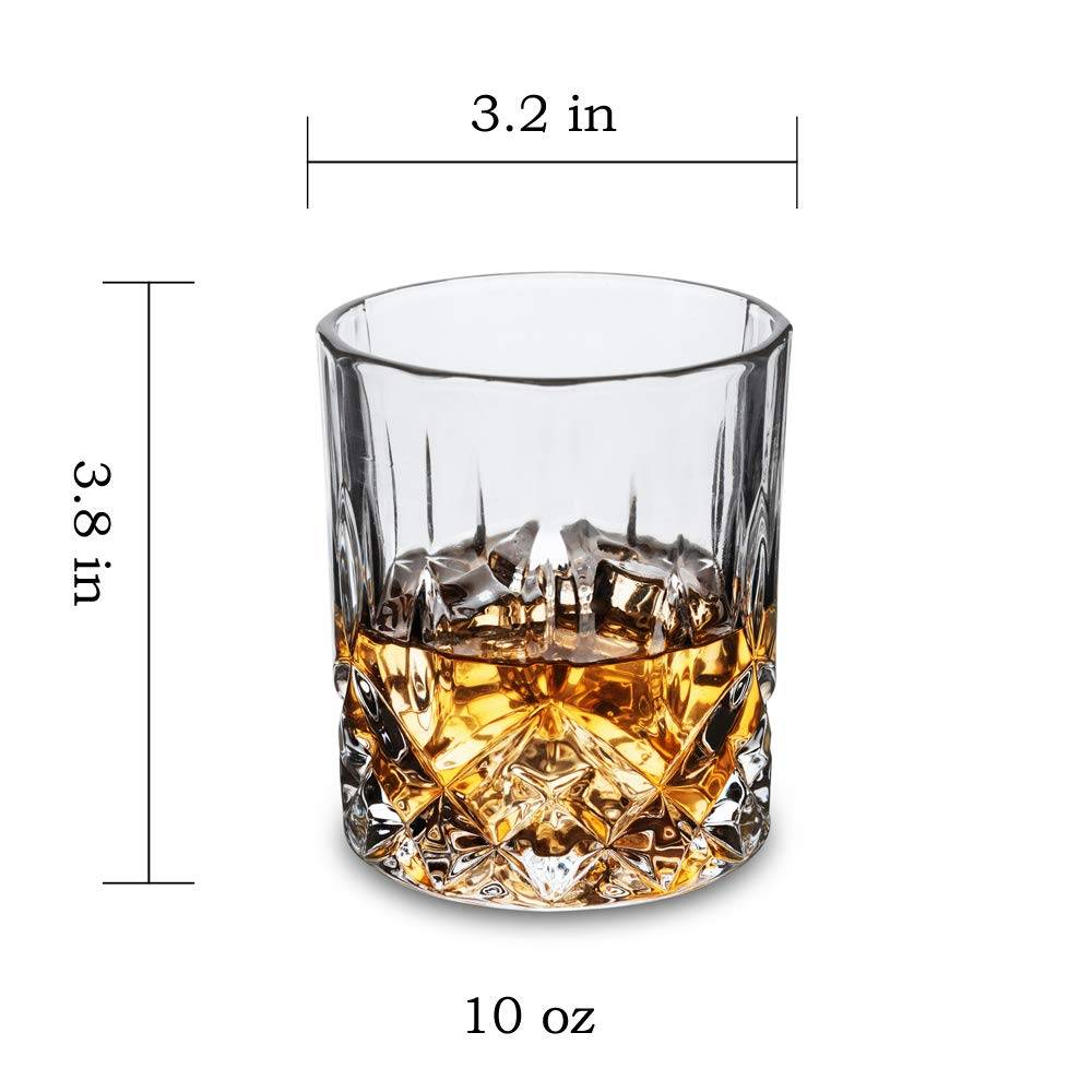 Double Old Fashioned Whiskey Glasses With Luxury Gift Box – Rocks Barware For Scotch, Bourbon, Liquor and Cocktail Drinks – Set of 4 Featured Image