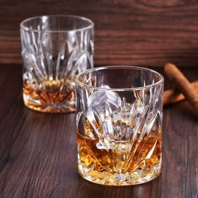 Classical Whiskey Glasses – 10oz Premium Lead Free Crystal Tasting Cups Set Of 6,Rock Style Old Fashioned Glass Tumbler For Drinking