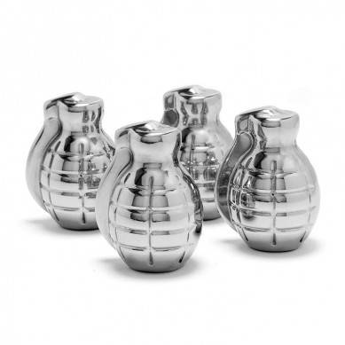 Stainless Steel Bomb Whiskey Stones  4 Piece Whisky Chilling Stones for Liquor, Scotch, and Spirits