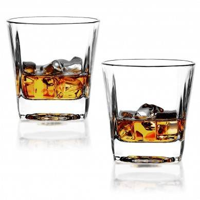 Whisky Glasses set of 2 Rocks Glass Old Fashioned Whiskey Glass Tumbler Bourbon Cognac Scotch Glasses Heavy Base Drinking Glasses for Serving