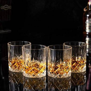 Double Old Fashioned Whiskey Glasses With Luxury Gift Box – Rocks Barware For Scotch, Bourbon, Liquor and Cocktail Drinks – Set of 4