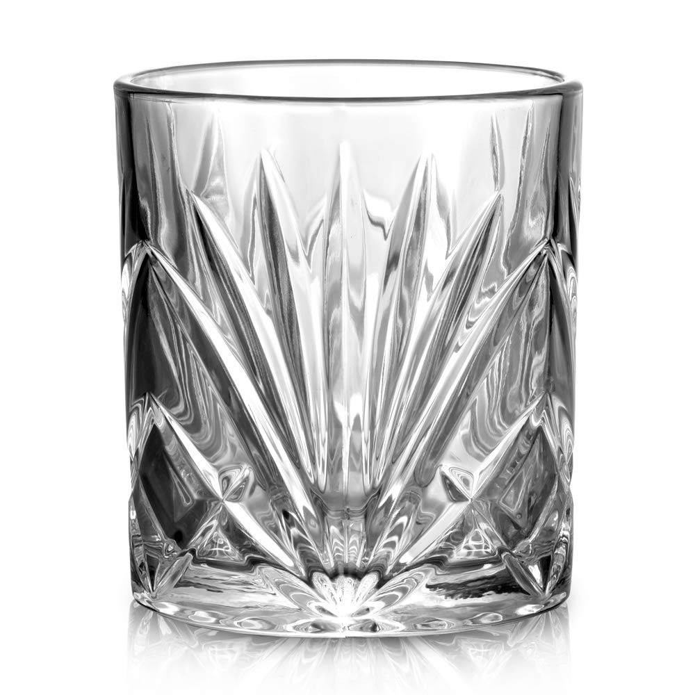 Classical Whiskey Glasses – 10oz Premium Lead Free Crystal Tasting Cups Set Of 6,Rock Style Old Fashioned Glass Tumbler For Drinking Featured Image
