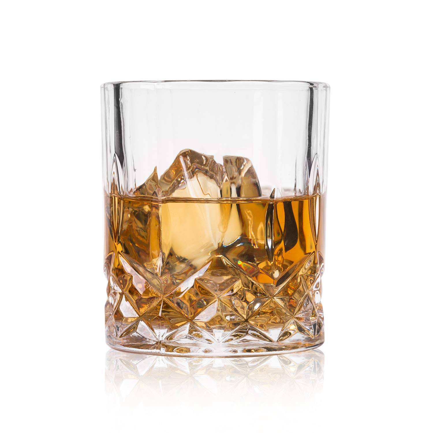GLASKEY Whiskey Glass Set of 4-7.5 oz Lead Free Crystal Old Fashioned Glass, Cocktail Cool Rocks Glass Tumbler for Bourbon, Irish Whisky, Brandy and More, Scotch Glasses Featured Image