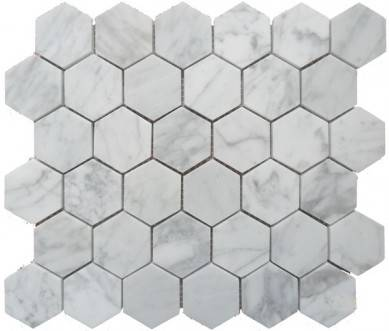 Bianco Carrara White 2″ Chip size Marble Mosaic in Hexagon Chip in 12″x12″  For Kitchen Bathroom Wall