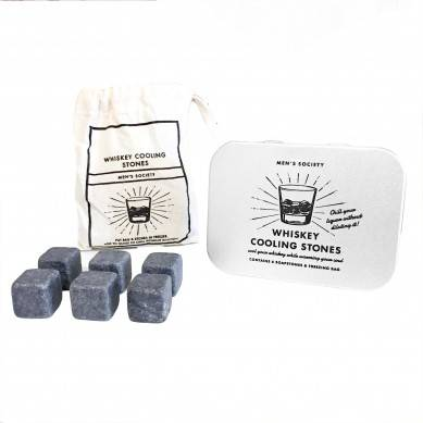 Factory price whiskey stone Set with metal box and cotton bag