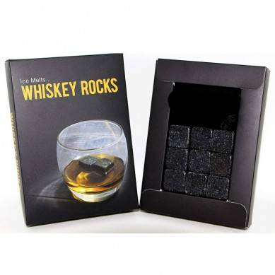 Whiskey Rocks – Premium Granite Whiskey Stones Set Black – Pure Granite – Set of 9 Whisky Chilling Stone