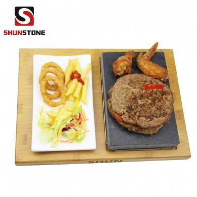 4 Pieces set Lava steak stone set ,Black Steak Grill Stone Plate Hot Stone Grill