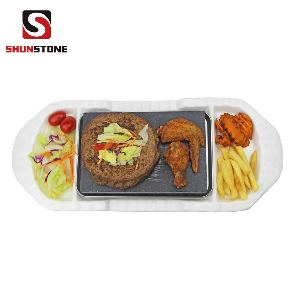 3 Pieces Set ,BBQ Stone Plate Steak Cooking Stone Gift Sets, Tableware Ceramic Plate Featured Image