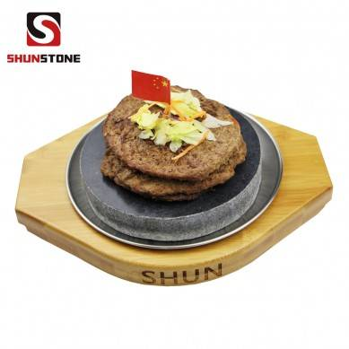 3 Pieces Set Fun Restaurant BBQ Stone Plate ,Circular Bamboo Plate,Steak Cooking Stone Gift Sets