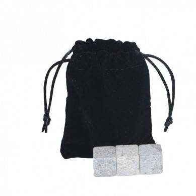 Hot whsiky set  Whiskey Stones with Black Velvet bag