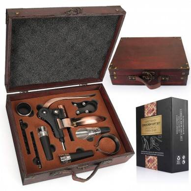 SHUNSTONE Antique Wooden Box Rabbit Wine Corkscrew Wine Accessories Gift Set
