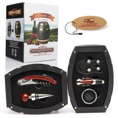 SHUNSTONE Hot Sale Wine Barrel Shaped Wine Accessories Gift Set Wine Opener Corkscrew