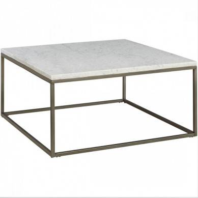 Modern smart marble coffee table in gold, , metal box frame