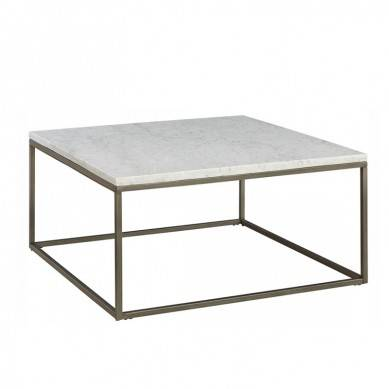 Simple stainless steel gold legs natural marble top coffee table