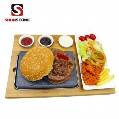 7 Piece Steak Stone Set At Home 1 x Bamboo Board Black Lava Rock Sizzling Hot Plate With Bowls Gift Boxed