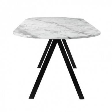 Simple luxury modern living room metal frame stainless steel white marble top round coffee side table