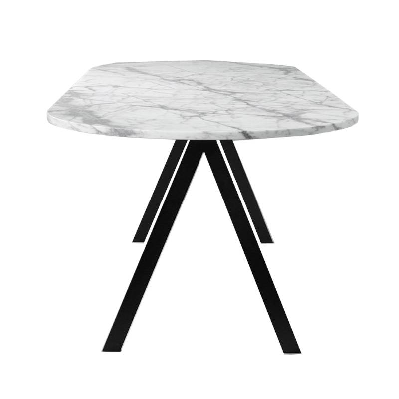 Simple luxury modern living room metal frame stainless steel white marble top round coffee side table Featured Image