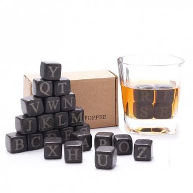 Set of 26 English Letter whiskey stone Basalt ice rock cubes Chilling Stones (26 Letters Whisky Stones Box)