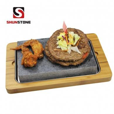 3 Pieces Set Restaurant BBQ Stone Plate ,Steak Cooking Stone Gift Sets, Bamboo Plate