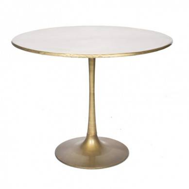 Chinese white round coffee table marble top