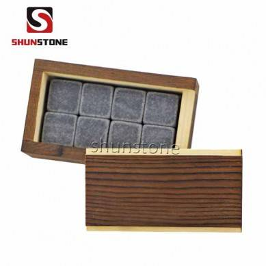 Combination Reusable Ice Cubes Whiskey Stone Wooden Box Set New Design Chapters Whiskey Stones with Great Price High Quality