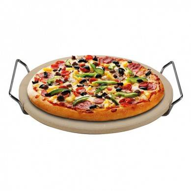 Round Beige Cordierite Pizza Stone for Baking Grilling Pizza Tools for Oven and BBQ Grill(China)