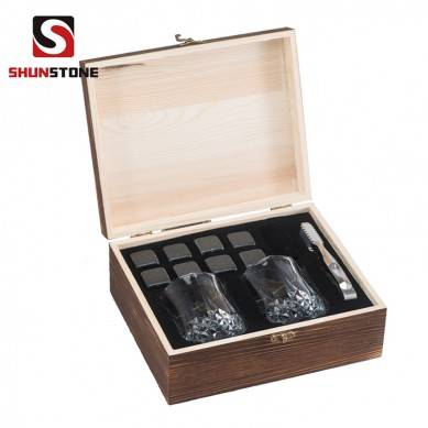 High Quality Dice Ice Cube with Crystal Glasses Whiskey Stones Wooden Box