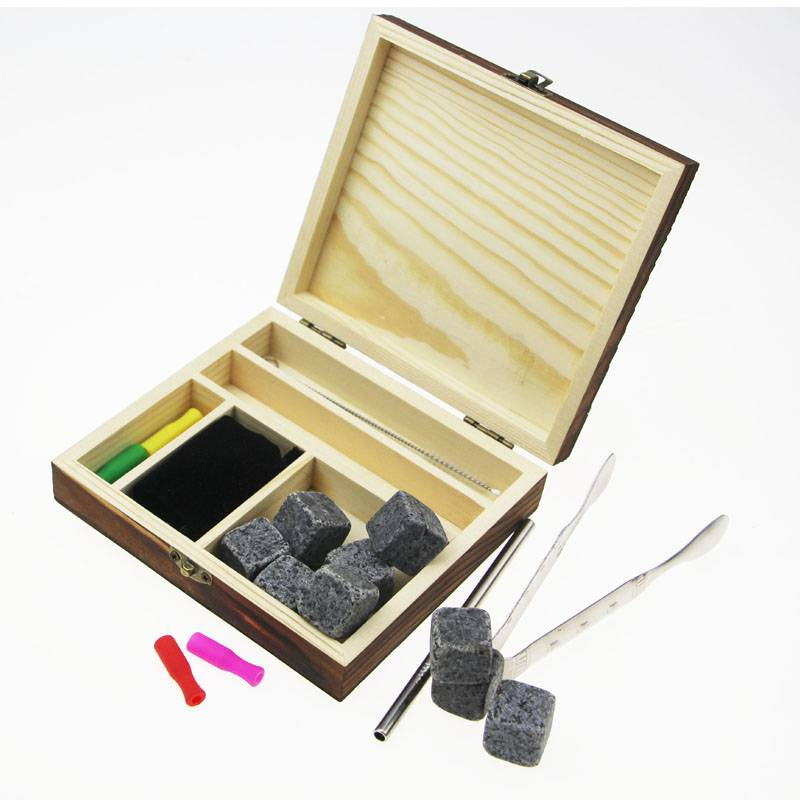 best selling whisky stone kit 9 654 Customized eco-friendly ceramic whiskey ice cube stones with stainless steel straw and tong Featured Image