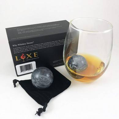 Whiskey Stones – Set of 2 Marble Chilling Spheres in Gift Box with Velvet Storage Bag