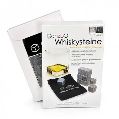Whisky stones made of natural bacon (grey) in the 9 pcs of set for drinks on the rocks, cooling stones in the practical fabric
