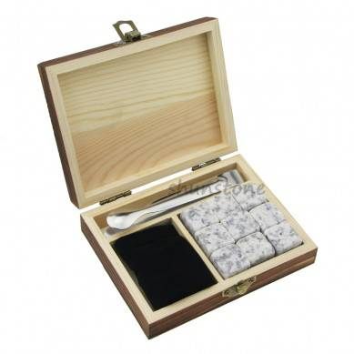 9 pcs of popular Chilling Whiskey Stones with Color Wooden Box and Velvet bags Wine Gifts Bar Accessories