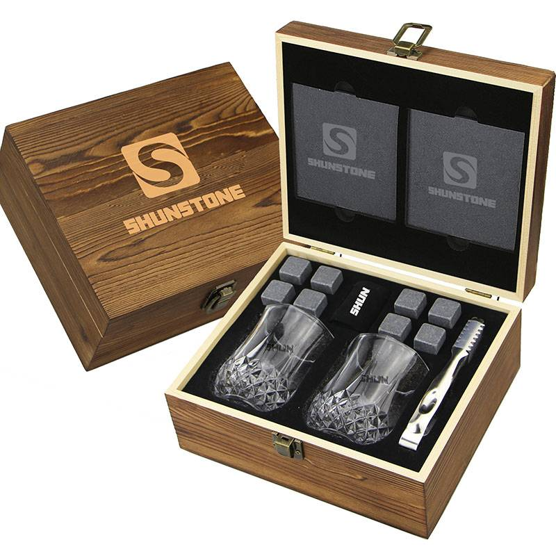 SHUNSTONE OWN design Bar Accessories Combination Crystal Glasses +Whiskey Stones+ Slate Coaster+ Wooden Gift box Featured Image