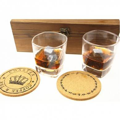 Whiskey Stones and Whiskey Glass Gift Boxed Set 8 Granite Chilling Whisky Rocks and 2 Crystal Glasses in Customized Wooden Box