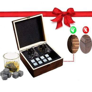 Whiskey Stones Gift Set – 2 Old Fashioned Glasses, 8 Granite Chilling Whiskey Rocks, Velvet Pouch in Handmade Wooden Box, Father's Day Gift for Dad, Husbands